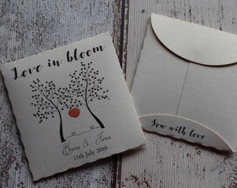 Personalised Wedding Favour Seed Envelopes with Wildflower seeds LOVE TREE