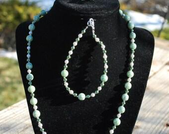Green Aqua Glass Bead and Pearl Jewelry Set