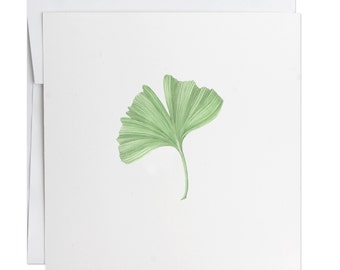 Ginko Greeting Card- Watercolors - Handmade Cards - Stationery - Gift Cards - Illustrated  - Envelope - Spring - Holiday - Mothers Day