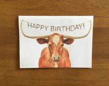 Texas Longhorn Happy Birthday Card -  Happy Birthday Card for Men - Cards for Him - Birthday Card for Ranchers - Texas Longhorn Ranchers
