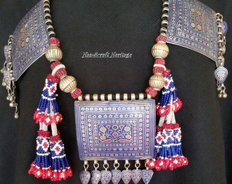 Tribal Silver Enameled Multan Woman Necklace (free shippiing worldwide)