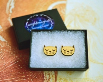 Wooden Cat Stud Earrings