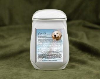 Mini Cremation Urn Dog - Urn for Pet Ashes - Dog Urn Memorial - Photo Memorial Urn - Custom Urn