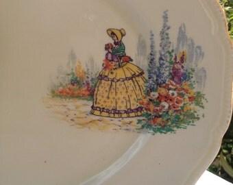 Charming Crinoline Lady Vintage Large Platter, Large Plate