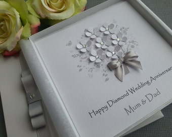 Diamond Silver Tin 10th 60th 25th Wedding Anniversary Card Handmade Personalised  Parents Grandparents Friends Any Names Keepsake 3D Boxed