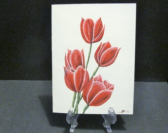 Red Tulips- 'Art Card' -hand painted