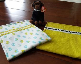 Elephant Organic cotton flannel Burp Cloths