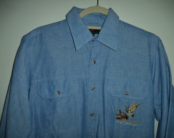 Embroidered duck 90s button down// Hipster outdoor mallard hunting shirt// Vintage Abercrombie & Fitch// Men's small to medium