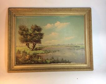 Vintage oil landscape on canvas painting trees pond