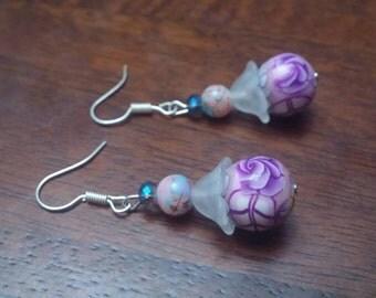 Flower Earrings Purple Beaded