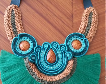 fringed necklace ethnic handmade