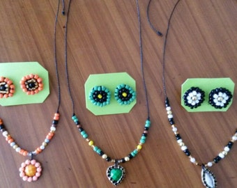 Simple necklace set with earrings mustard seed