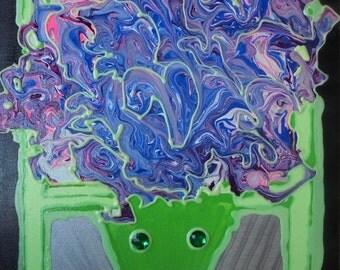 Clever Alien 16x20 original art glow-in-the-dark
