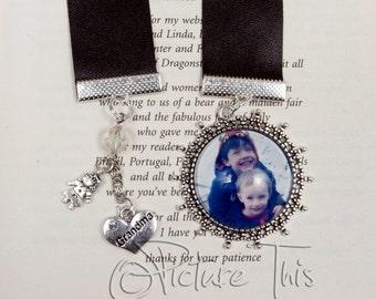 Custom ribbon bookmark, personalised bookmark, photo bookmark. Photo bookmark. gift for grandma. Gift idea. Gift for her.