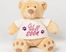 Get well soon, sympathy, honey bear. Gorgeous little t shirt design available in 3 different text colours.