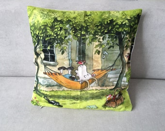 Decorative pillow-cover goat with zipper