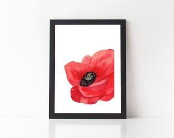SALE - Poppy Print - art print, floral print, flower print, flower wall decor, white space print, poppy print, poppies, red flower print