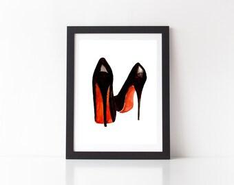 SALE - Christian Louboutin Shoe Print - art print, heel print, high heel print, girly print, fashion print, shoe print