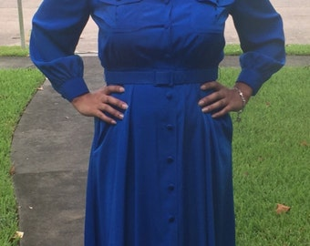 80s Vintage Royal Blue Dress:/large/xl/ Button Dress