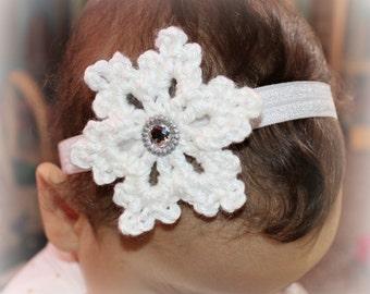 Crochet snowflake headband, Christmas hair accessories, Christmas headband, Holiday headband, baby elastic headband, Christmas photo props