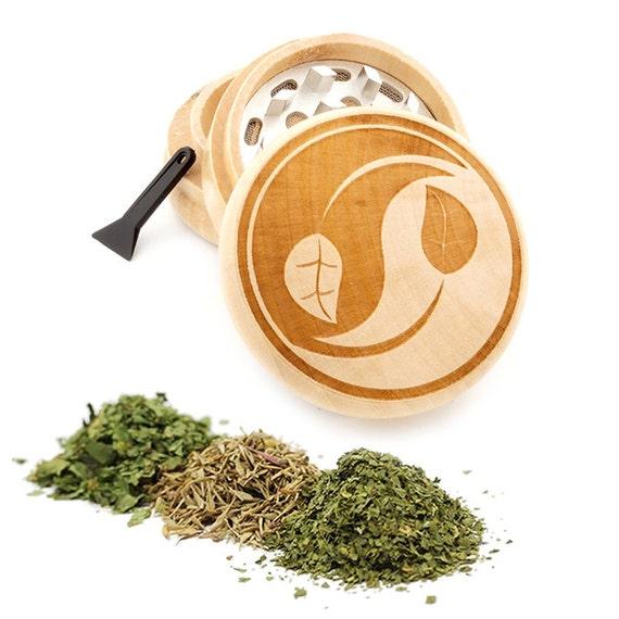 Yin Yang Engraved Premium Natural Wooden Grinder Item # PW050916-107
