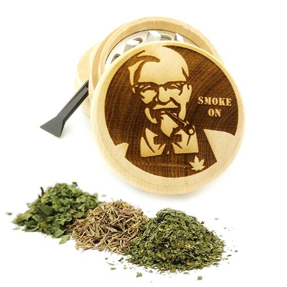 Smoke On Design Engraved Premium Natural Wooden Grinder Item # PW61716-27