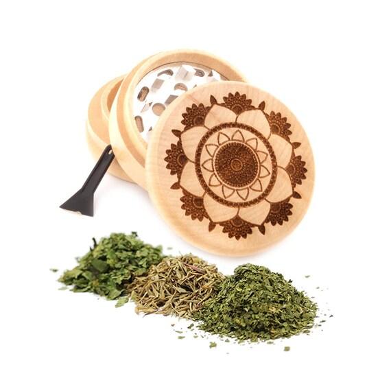 Lotus Flower Engraved Premium Natural Wooden Grinder Item # PW91316-15