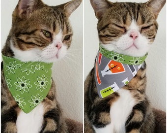 Reversible Science Bandana for Cats or Small Dogs