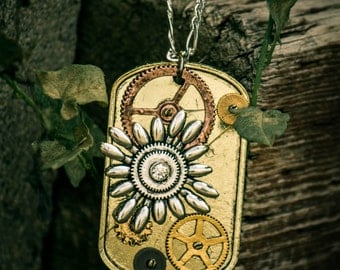 Steampunk Flower and Gears Necklace