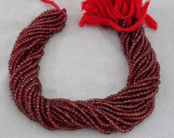 5 Strands Of Mozambique Garnet Faceted RoNdelle Beads, Mozambique Garnet Faceted Rondelles, Garnet Faceted Rondelle Beads
