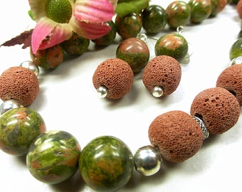 Green Unakite set with red lava