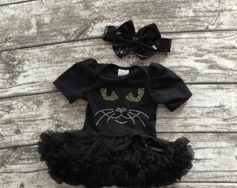 Black Cat Onesie Tutu Halloween Costume for Baby/Toddler with Headband Bow