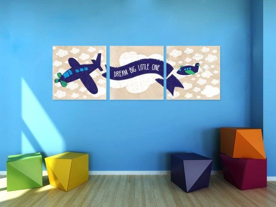 Vintage airplane nursery wall art set of 3 boys wall art Vintage airplane decor for nursery