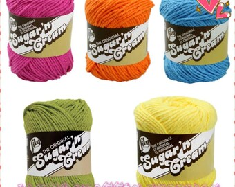 Lily Sugar'n Cream Cotton Yarn Colors/1 Balls of Lily Sugar'n Cream Cotton Yarn/Cotton Yarn