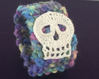 Pastel Rainbow Cuff with White Skull