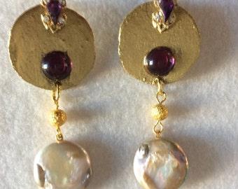 Earrings with Golden balsa wood