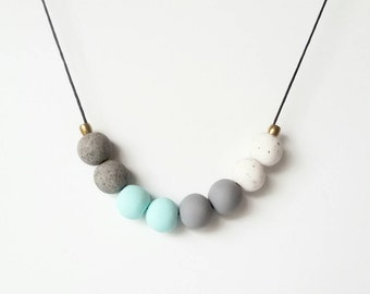Grey tones copper beads with pastel mint marble granite natural stone look Handmade polymer clay bead necklace
