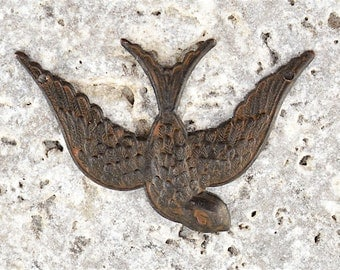 Bird Pendant, Brown Bird, Swallow, Mockingbird, Rustic Bird, Patina Bird, Antiqued Bird, Bird Stamping, Brass Stamping