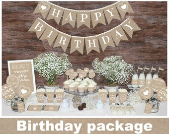 Rustic Birthday decorations printable, first birthday party decors, burlap decorations, natural party decorations, birthday package