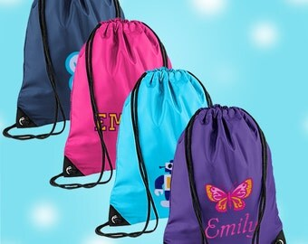 Embroidered Personalised PE Bag, Kit Bag Drawstring Bag