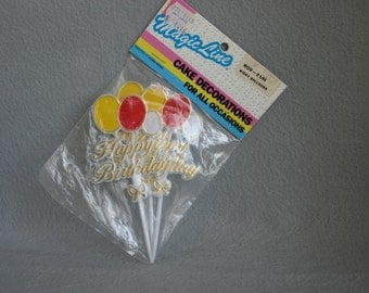 New Vintage Happy Birthday Cake Toppers