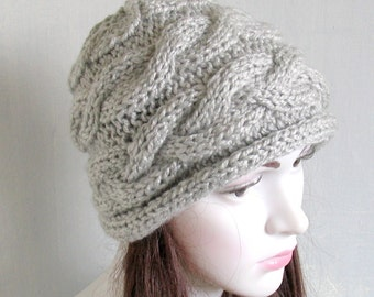 Hand Knit Hat Slouchy Beanie  Beanie  Winter Hat  Grey Hat  Beret  Slouchy Hat  Women Hat - Oversized Hat - Chunky Knit