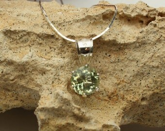 Prasiolite Necklace, Custom Faceted Mint Green Quartz Pendant in Sterling Silver, Prasioltie Gemstone