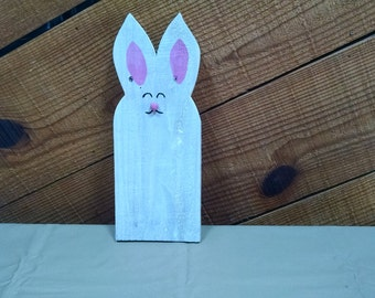 Hand-painted, pallet wood bunny