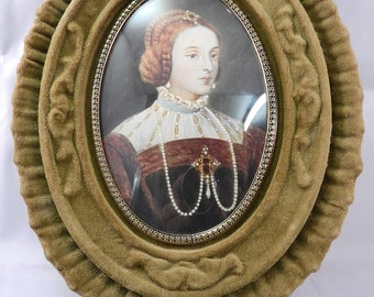 Antique oil painting miniature portrait of a lady , signed,framed