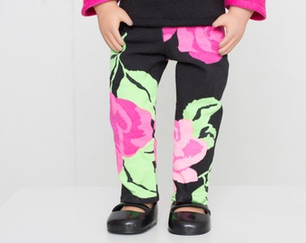 """18 inch doll clothes patterned pants 18"""" doll floral and hearts handmade doll clothes pants american doll girl outfit stylish american doll"""