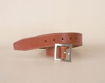 Womens Camel Tan Leather Belt Size Medium