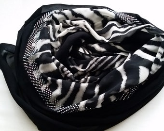Black and White Animal Print scarf with rhinestones