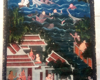 Special Price! Fine Art Painting 'Way Of Thai Life in Ancient Times' Made in Thailand