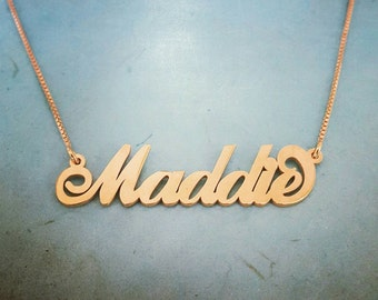 Gold Name Necklace, ORDER ANY NAME 18k gold plated, Free Shipping, Free chain, personalized monogram necklace, gold chain, Maddie necklace